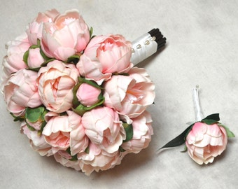 Real Touch Blush Pink Peonies Bridal Bouquet Groom Boutonniere Wedding Flowers Package