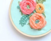 Trio Floral Mint Embroidery Hoop (ready to ship)