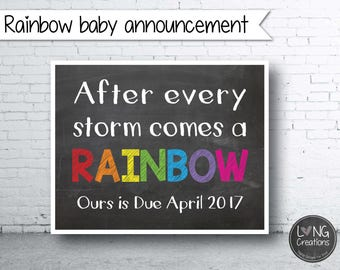 Rainbow baby  - pregnancy announcement print - baby announcement - sign -printable digital file - new baby - wall art - maternity photo prop