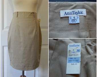 SALE Vtg Ann Taylor Skirt High Waist Above Knee Cotton Khaki Pencil New Old Stock USA (R2-17)