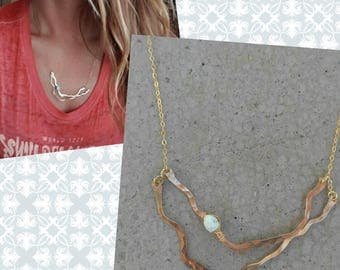 Abstract one of a kind gold organic necklace