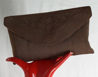 Coffee Corde' Clutch 1930's Purse .  Vintage Evening Bag . Wartime Fashions . Lindy Hop . Land Girl . WW2 .