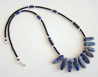 Denim Necklace, Lapis Lazuli Necklace, Lapis Seed Bead Necklace, Blue Gemstone Beaded Necklace