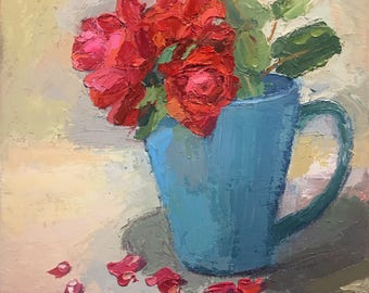 Roses in a Blue Mug - Original Palette Knife Oil Painting on Canvas