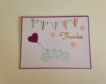 Tandem Bicycle with Heart Thank you Card