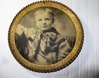 1890-1900 Antique Photograph on Tin of a Little Boy in a Sailor Suit