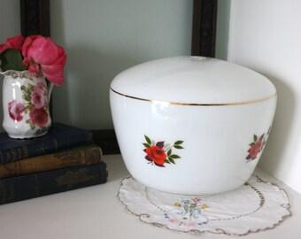 Vintage 50s kitsch milk glass floral rose print lampshade