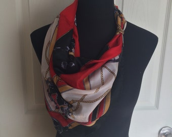 Vintage Large Square Equestrian Scarf in Red, Black, and White - Hand Made and 100% Silk