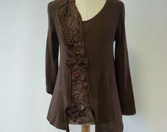 Special price, brown cotton sweater, M size.