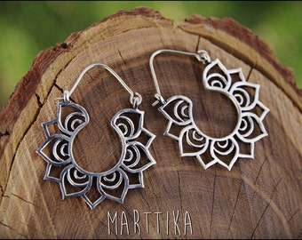 Silver earrings. Tribal earrings ethnic style. Boho earrings. Lotus flower.