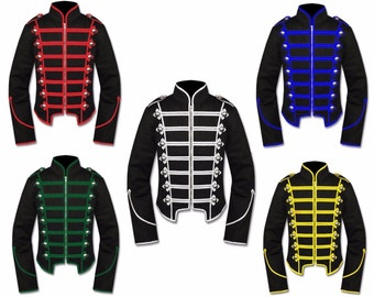 Men's Unique Gothic Steampunk  Black Parade MILITARY MARCHING Band Drummer Jacket Goth Punk EMO