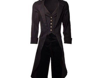 CUSTOM STYLE Mens Steampunk Tailcoat Jacket Black Gothic Victorian Coat