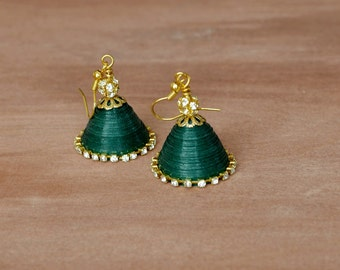 Jhumka - Indian wedding jewelry - Quilled earrings - Paper earrings - Dark green jhumka earrings - Ethnic jewelry - Unique gifts - Jhumki