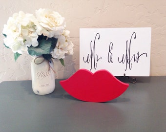 Red lips sign, lipstick vendor decor, beauty salon decor.  lip art, glitter lip decor, beauty salon prop, valentines