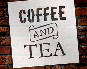 Coffee And Tea - Vintage - Word Art Stencil - Select Size - STCL1788 - by StudioR12