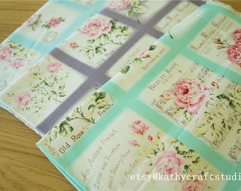 Half yard-Sewing cotton canvas fabric--folk art flower pattern