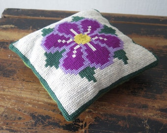 Embroidered small Decorative Pillow Purple Flower handmade Vintage Throw Pillow Scandinavian Cottage Chic #3-20