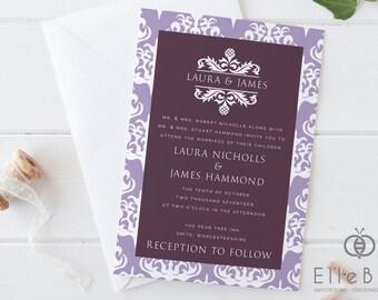 Damask Wedding Invitation // Damask Wedding Invites // Damask // Aubergine & Lavender Wedding Invites // Green Park Collection