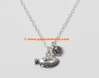 KIDS SIZE - Spaceship initial necklace, rocket ship necklace, space jewelry, outer space necklace, rocket jewelry, silver spaceship necklace
