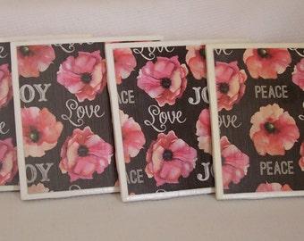 Peace, Love Joy Ceramic Tile Coasters