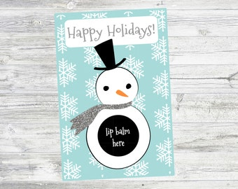 Snowman Lip Balm Holiday Card. Instant Digital Download.