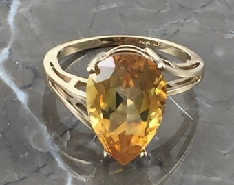 Vintage Citrine Ring | 10K Pear Shape Citrine Ring | Alternative Engagement Ring | August Birthstone Ring