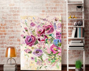 Pink Flowers Oil Painting Pink Rose Wall Art Pink Peony Print Pink Purple Painting Peony Pink Flowers Canvas Pink Flower Print A2 Pink Print