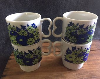 Vintage Japan 60s 70s mod stacking coffee mugs
