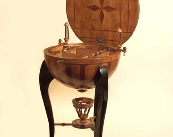 Extremely Rare Original Biedermeier Hemispherical Side Table & Antique Sewing Table - 1840's Germany - Marquetry Inlay