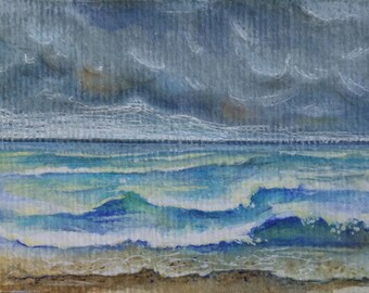 ACEO original beach waves