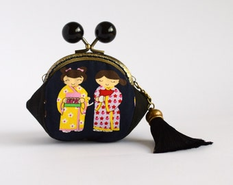 Hand crafted gold embossed Japanese coin purse with kiss lock frame and large beads - collectable #0004