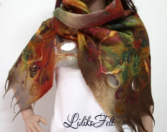 Women BROWN Cobweb Felted Wool Scarf Shawl Wrap AUTUMN Colors
