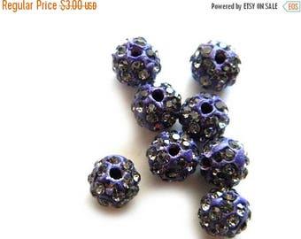 HALF PRICE 10 Cobalt Blue Rhinestone Disco Ball Beads 8mm