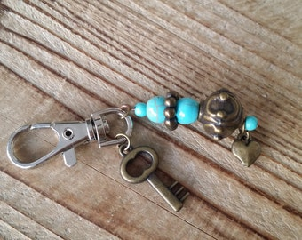 Key chain bronze and turquoise ceramic beads