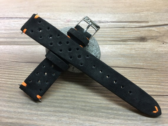 Handmade Leather watch strap, Suede grey Leather watch band, Rally Leather Watch strap, Racing Leather watch strap for Rolex