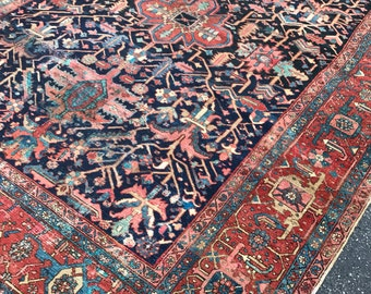"""9'x11'7"""" Antique Persian Heriz Rug"""