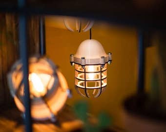 No.20 industrial lighting - 3d printing - lasercutted wood - white hanging lamp - Dutch Design