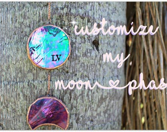 Customize my Moonphase, Monogram, stained glass, personalized, moon phase, etched glass, Garden decor,gift, initials, gifts for her, wedding