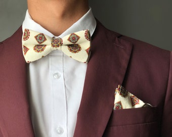 Set bow tie with handkerchief-set of bowtie with pocketsquare