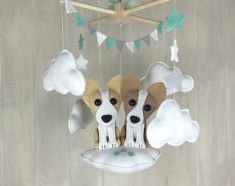 Baby mobile - childrens room - corgi mobile - nursery decor - furbaby mobile - corgi - dog mobile - cloud mobile - star mobile