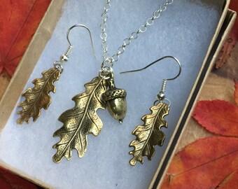 Brass Oak leaves with Acorn Jewellery Set