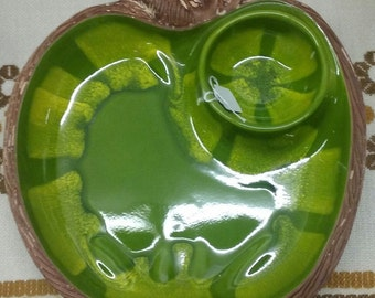 Green Apple Chip and Dip Ceramic Serving Tray