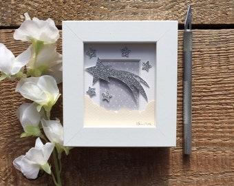Make a Wish, papercut, nursery wall art, papercutting, shooting star, small papercut, home decor, grey, nursery decor.