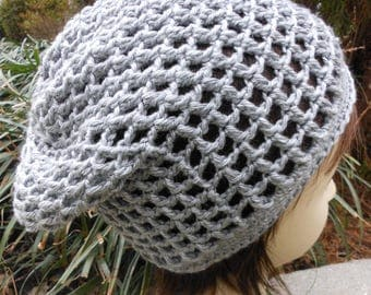 open weave crochet slouchy hat, gray silver cap, spring and summer accessory, casual knit slouch beanie, girls and women accessories