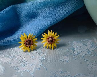 Hand Sculpted Sunflower Earrings
