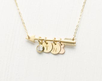 Monogram Necklace, Mothers Day Gift, Initial Heart Necklace, Girlfriend Gift, Personalized Gift for Mom, Hand Stamped