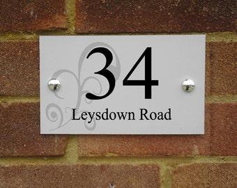 Modern aluminium house sign plaque door number with square or curved edges