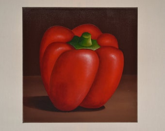 SALE 10x10' acrylic bell pepper painting, vegetable painting, food painting, kitchen art, still life painting, food art, chef painting
