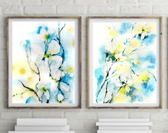 Abstract floral art prints set, watercolor painting of florals, set of 2 prints, turquoise and yellow art, modern wall art