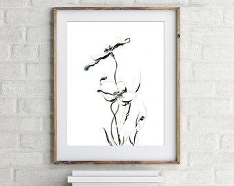 Minimalist floral art print, fine art print from ink drawing by CanotStop, black and white modern wall art